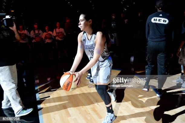 Kelsey Plum of the San Antonio Stars gets introduced in the starting line up before the game against the New York Liberty during a WNBA game on...