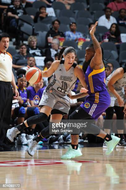 Kelsey Plum of the San Antonio Stars handles the ball against the Los Angeles Sparks on July 28 2017 at the ATT Center in San Antonio Texas NOTE TO...