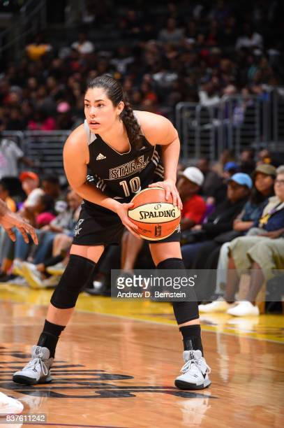 Kelsey Plum of the San Antonio Stars handles the ball against the Los Angeles Sparks on August 22 2017 at the STAPLES Center in Los Angeles...
