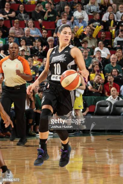 Kelsey Plum of the San Antonio Stars handles the ball against the Seattle Storm on June 18 2017 at KeyArena in Seattle Washington NOTE TO USER User...
