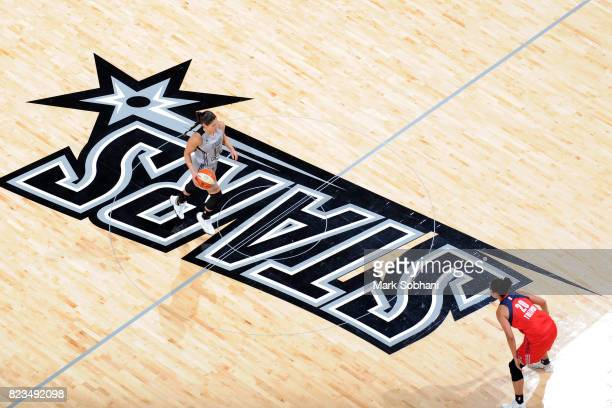 Kelsey Plum of the San Antonio Stars handles the ball against the Washington Mystics on July 25 2017 at the ATT Center in San Antonio Texas NOTE TO...