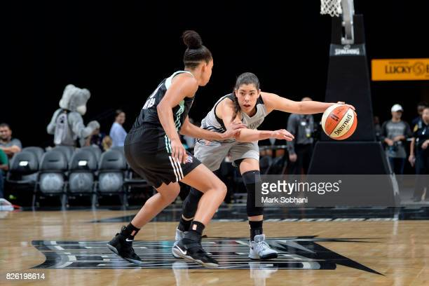 Kelsey Plum of the San Antonio Stars handles the ball during the game against the New York Liberty during a WNBA game on August 1 2017 at the ATT...