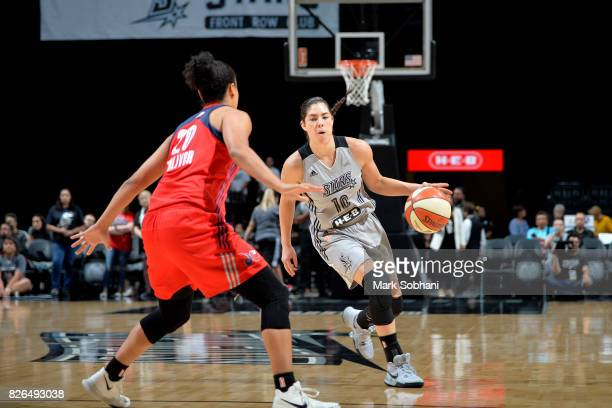 Kelsey Plum of the San Antonio Stars handles the ball during the game against the Washington Mystics during a WNBA game on August 4 2017 at the ATT...
