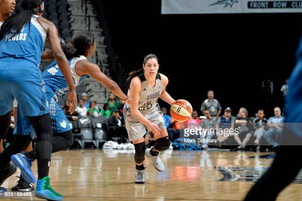 Kelsey Plum of the San Antonio Stars handles the ball during the game against the Minnesota Lynx during a WNBA game on August 25 2017 at the ATT...