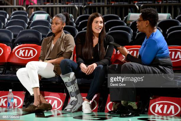 Kelsey Plum of the San Antonio Stars is interviewed before the game against the New York Liberty at Madison Square Garden on May 13 2017 in New York...