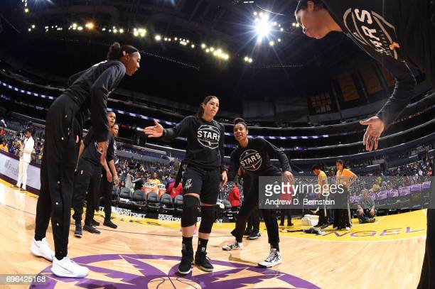 Kelsey Plum of the San Antonio Stars is introduced before a game against the Los Angeles Sparks on June 15 2017 at STAPLES Center in Los Angeles...
