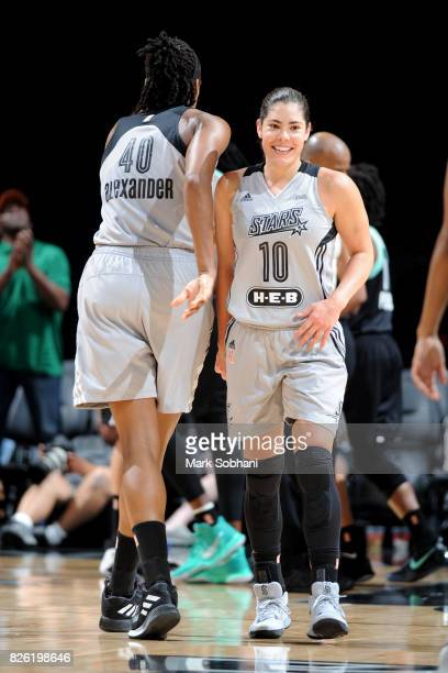 Kelsey Plum of the San Antonio Stars looks on during the game against the New York Liberty during a WNBA game on August 1 2017 at the ATT Center in...