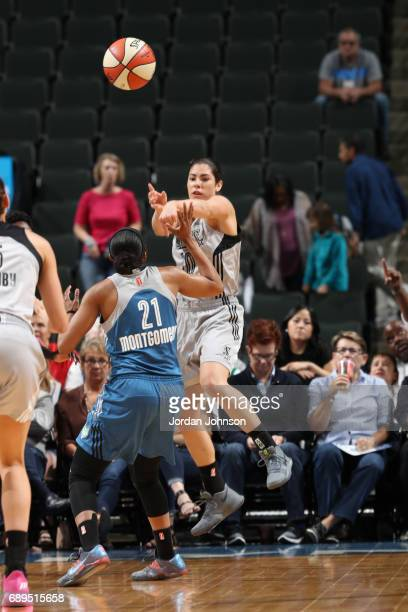 Kelsey Plum of the San Antonio Stars passes the ball against the Minnesota Lynx on May 28 2017 at Xcel Energy Center in St Paul Minnesota NOTE TO...