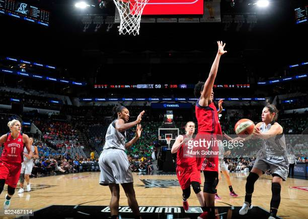 Kelsey Plum of the San Antonio Stars passes the ball against the Washington Mystics on July 25 2017 at the ATT Center in San Antonio Texas NOTE TO...