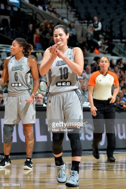 Kelsey Plum of the San Antonio Stars reacts during the game against the Minnesota Lynx during a WNBA game on August 25 2017 at the ATT Center in San...