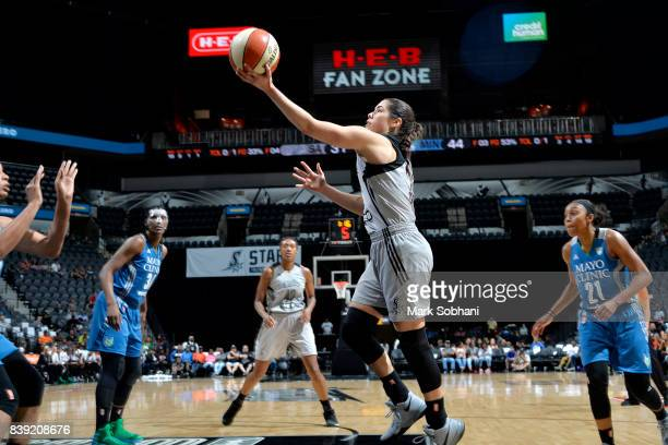 Kelsey Plum of the San Antonio Stars shoots a lay up during the game against the Minnesota Lynx during a WNBA game on August 25 2017 at the ATT...