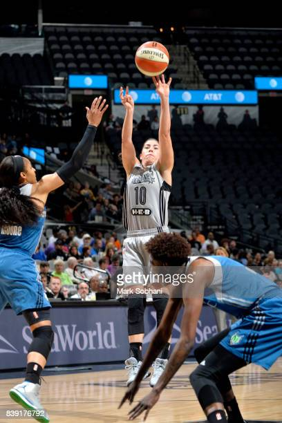 Kelsey Plum of the San Antonio Stars shoots the ball during the game against the Minnesota Lynx during a WNBA game on August 25 2017 at the ATT...