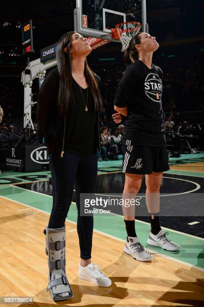 Kelsey Plum of the San Antonio Stars stands for the national anthem before the game against the New York Liberty at Madison Square Garden on May 13...