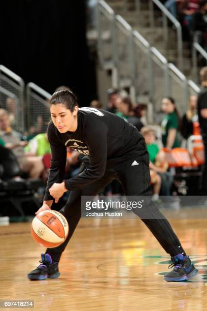 Kelsey Plum of the San Antonio Stars warms up before the game against the Seattle Storm on June 18 2017 at KeyArena in Seattle Washington NOTE TO...