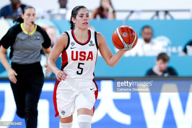 Diana Taurasi of the USA National Team is seen with Sue Bird of the USA National Team before the game against the Senegal National Team during 2018...