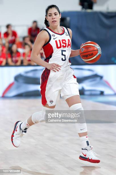 Kelsey Plum of the USA National Team handles the ball against the Senegal National Team during 2018 FIBA Women's Basketball World Cup on September 22...