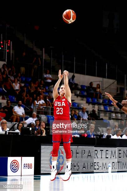 Kelsey Plum of the USA National Team shoots the ball against the Senegal National Team on September 16 2018 at the Azur Arena in Antibes France NOTE...