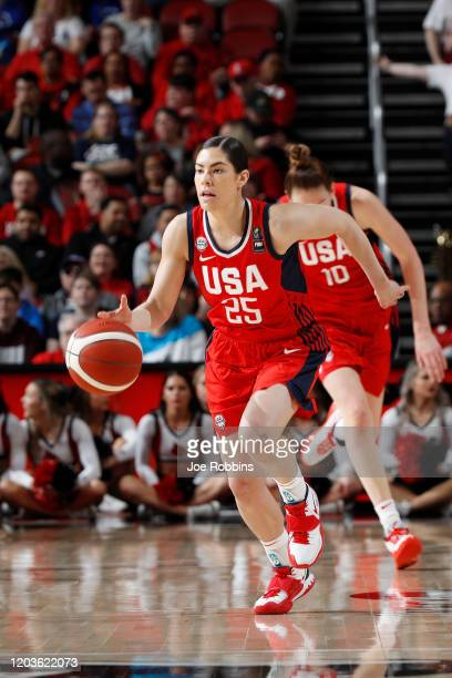Kelsey Plum of the USA Women's National dribbles the ball up court during an exhibition game against the Louisville Cardinals at KFC YUM Center on...