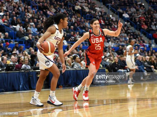 Kelsey Plum of the USA Women's National Team defends against the UConn Huskies on January 27 2020 at XL Center in Hartford Connecticut NOTE TO USER...