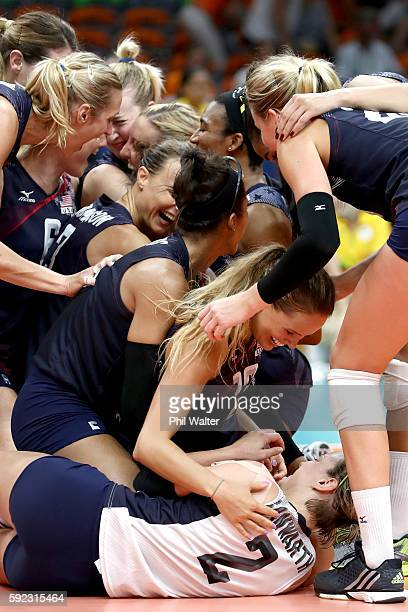 Kelsey Robinson and Kayla Banwarth of United States celebrate after match point during the Women's Bronze Medal Match between Netherlands and the...