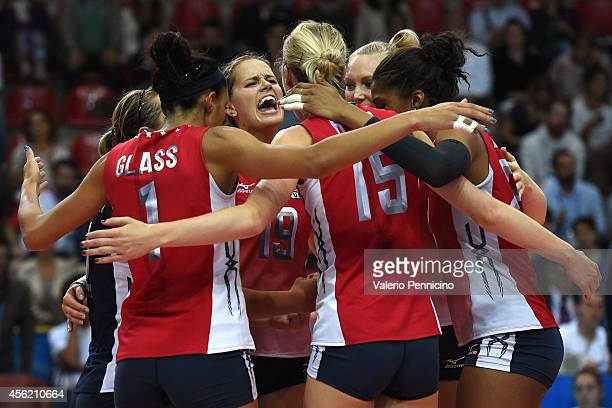 Kelsey Robinson of USA celebrates victory with teammates at the end of the FIVB Women's World Championship pool C match between USA and Thailand on...