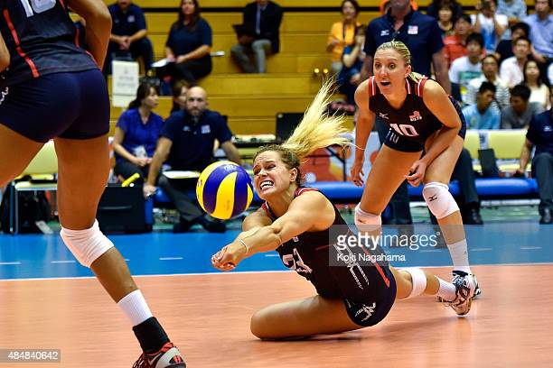 Kelsey Robinson of USA receives the ball in the match against South Korea during the FIVB Women's Volleyball World Cup Japan 2015 at Matsumoto City...