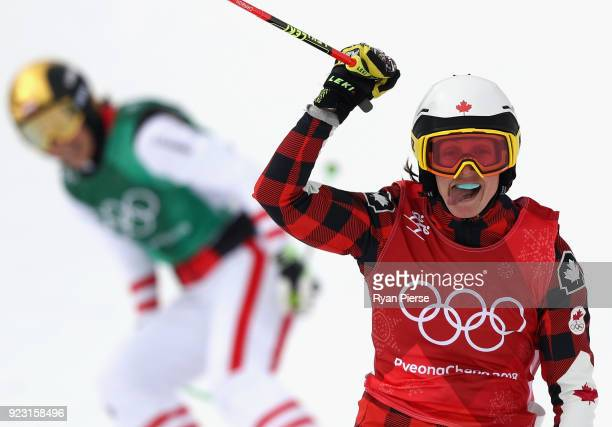 Kelsey Serwa of Canada celebrates during the Freestyle Skiing Ladies' Ski Cross Quarterfinals on day fourteen of the PyeongChang 2018 Winter Olympic...