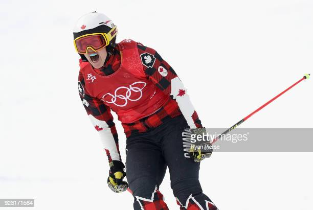 Kelsey Serwa of Canada celebrates winning the gold medal during the victory ceremony for the Freestyle Skiing Ladies' Ski Cross Big Final on day...