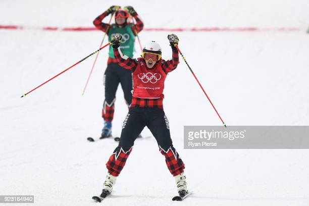 Kelsey Serwa of Canada celebrates winning the gold medal from silver medallist Brittany Phelan of Canada during the Freestyle Skiing Ladies' Ski...