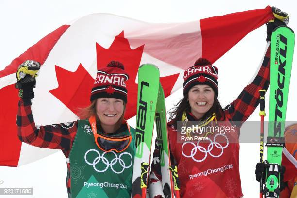 Kelsey Serwa of Canada celebrates winning the gold medal with silver medallist Brittany Phelan of Canada during the victory ceremony for the...