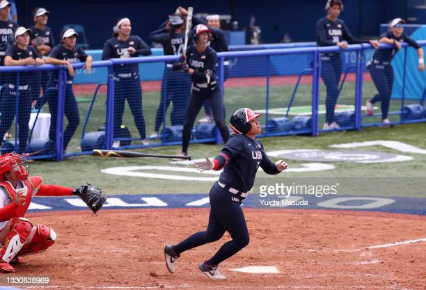Kelsey Stewart of the Team United States hits a walk-off home run to win the game 2-1 in the seventh inning against Team Japan during softball...