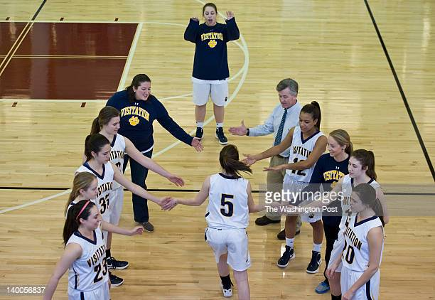 Kelsey Tillman of Georgetown Visitation is introduced before the ISL championship game Sunday February 26 2012 in Washington DC at Sidwell Friends...