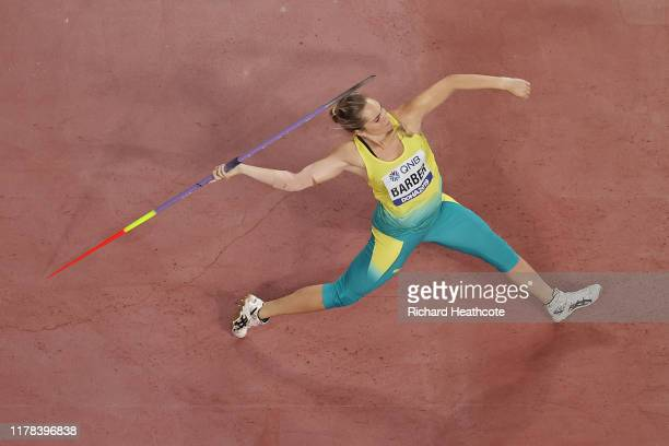 KelseyLee Barber of Australia competes in the Women's Javelin Throw final during day five of 17th IAAF World Athletics Championships Doha 2019 at...