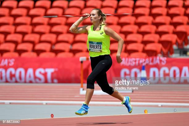 KelseyLee Roberts competes in round one of the Women's Javelin event during the Australian Athletics Championships Nomination Trials at Carrara...