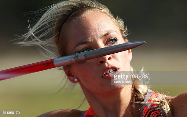 KelseyLee Roberts of the ACT competes i the Womens Javelin Throw during the Canberra Track Classic at the AIS Athletics track February 20 2016 in...