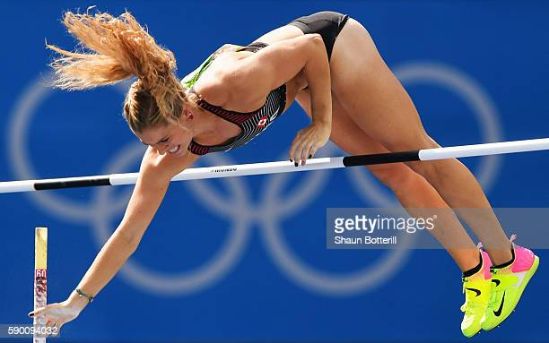 Kelsie Ahbe of Canada competes during the Women's Pole Vault Qualifying Round Group A on Day 11 of the Rio 2016 Olympic Games at the Olympic Stadium...