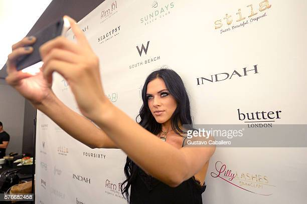 Kelsie Smeby INDAH Clothing Presents Casa INDAH at SwimMiami Backstage at W South Beach on July 16 2016 in Miami Beach Florida