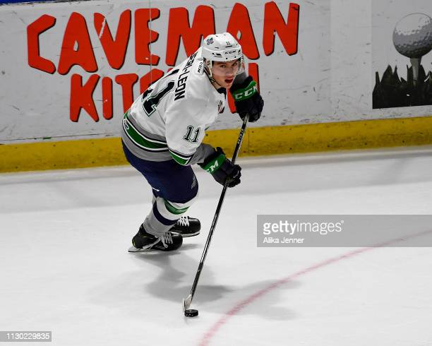 Keltie JeriLeon of the Seattle Thunderbirds looks to pass the puck against the Everett Silvertips at accesso ShoWare Center on February 16 2019 in...
