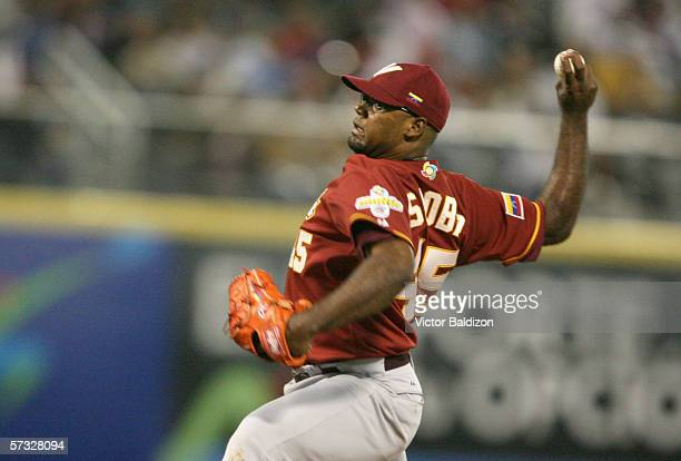 Kelvim Escobar of Venezuela pitches against the Dominican Republic during the game on March 14, 2006 at Hiram Bithorn Stadium in San Juan, Puerto...