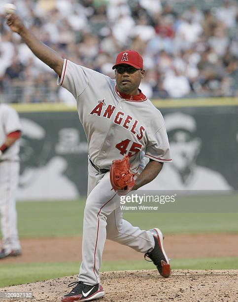 Kelvim Escobar, pitcher of the Los Angeles Angels on the mound during Los Angeles Angels of Anaheim vs Chicago White Sox game on August 7, 2006 at US...