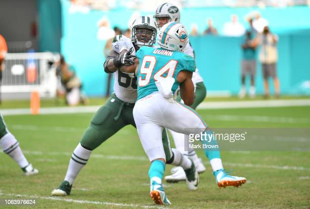 Kelvin Beachum of the New York Jets in action against the Miami Dolphins at Hard Rock Stadium on November 4 2018 in Miami Florida