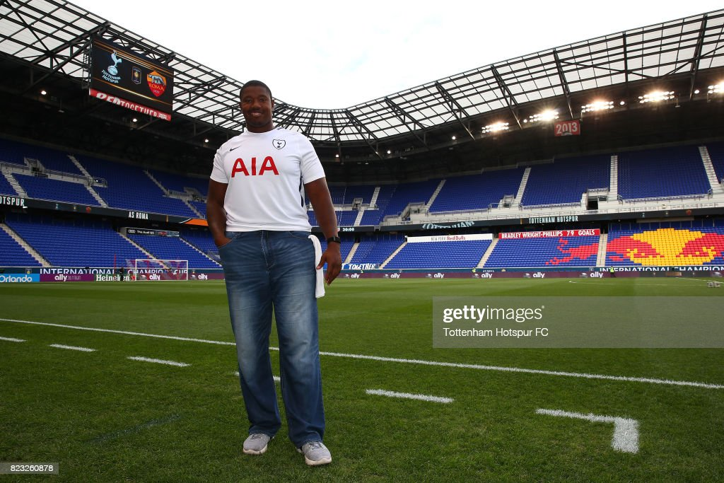 Kelvin Beachum of the New York Jets poses for a photo prior to the match between the Tottenham Hotspur and the Roma during the International Champions Cup 2017 at Red Bull Arena on July 25, 2017 in Harrison, New Jersey.