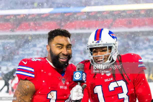 Kelvin Benjamin mock interviews Joe Webb of the Buffalo Bills after the game against the Indianapolis Colts at New Era Field on December 10 2017 in...