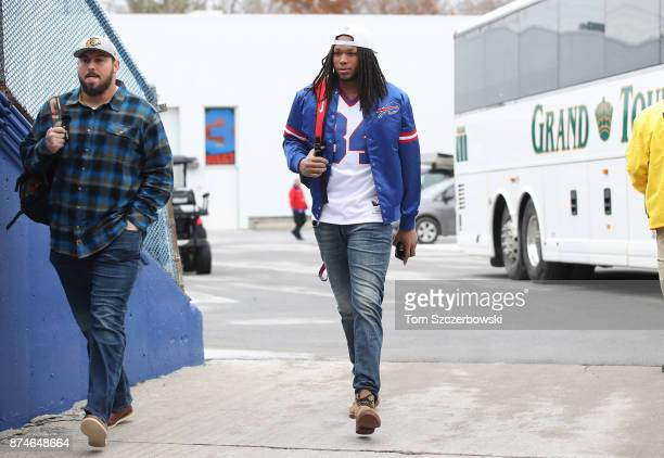 Kelvin Benjamin of the Buffalo Bills arrives at the stadium before the start of NFL game action against the New Orleans Saints at New Era Field on...