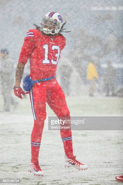 Kelvin Benjamin of the Buffalo Bills dances during warm ups before the game against the Indianapolis Colts at New Era Field on December 10 2017 in...