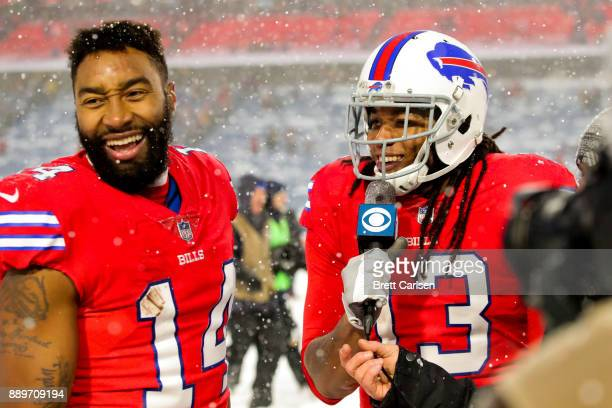Kelvin Benjamin of the Buffalo Bills fake interviews Joe Webb of the Buffalo Bills after a game against the Indianapolis Colts on December 10 2017 at...