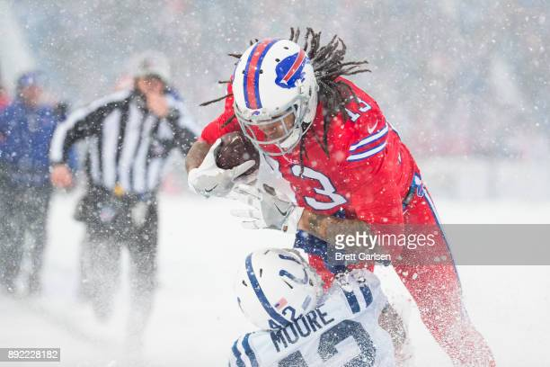 Kelvin Benjamin of the Buffalo Bills makes a first down reception during the second quarter while making contact with Kenny Moore of the Indianapolis...