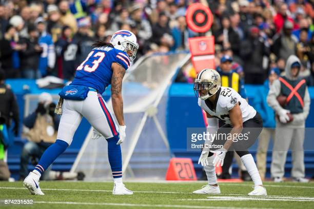 Kelvin Benjamin of the Buffalo Bills stands ready across from Marshon Lattimore of the New Orleans Saints during the first half at New Era Field on...