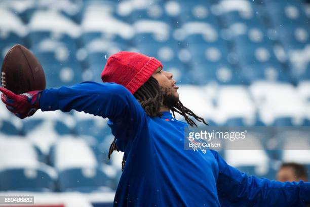 Kelvin Benjamin of the Buffalo Bills throws the ball while warming up before a game against the Indianapolis Colts on December 10 2017 at New Era...