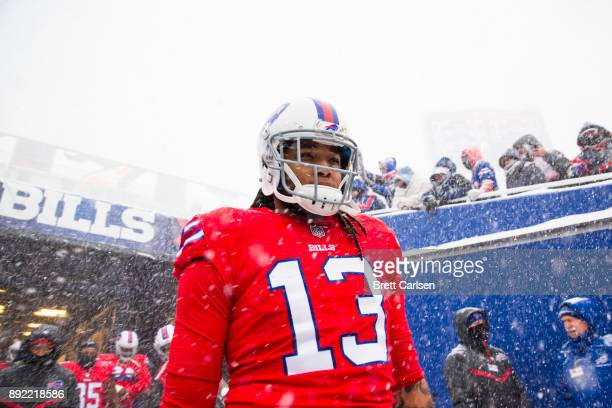 Kelvin Benjamin of the Buffalo Bills walks out of the tunnel before the game against the Indianapolis Colts at New Era Field on December 10 2017 in...